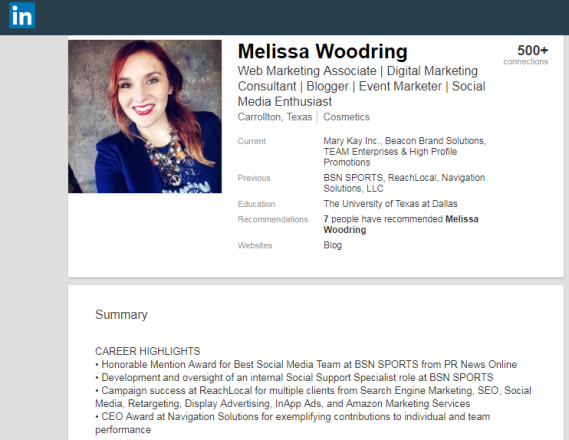 Professional description and background history of a Dallas marketing professional